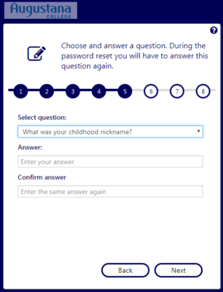 Step 6: Choose and answer 3 security questions