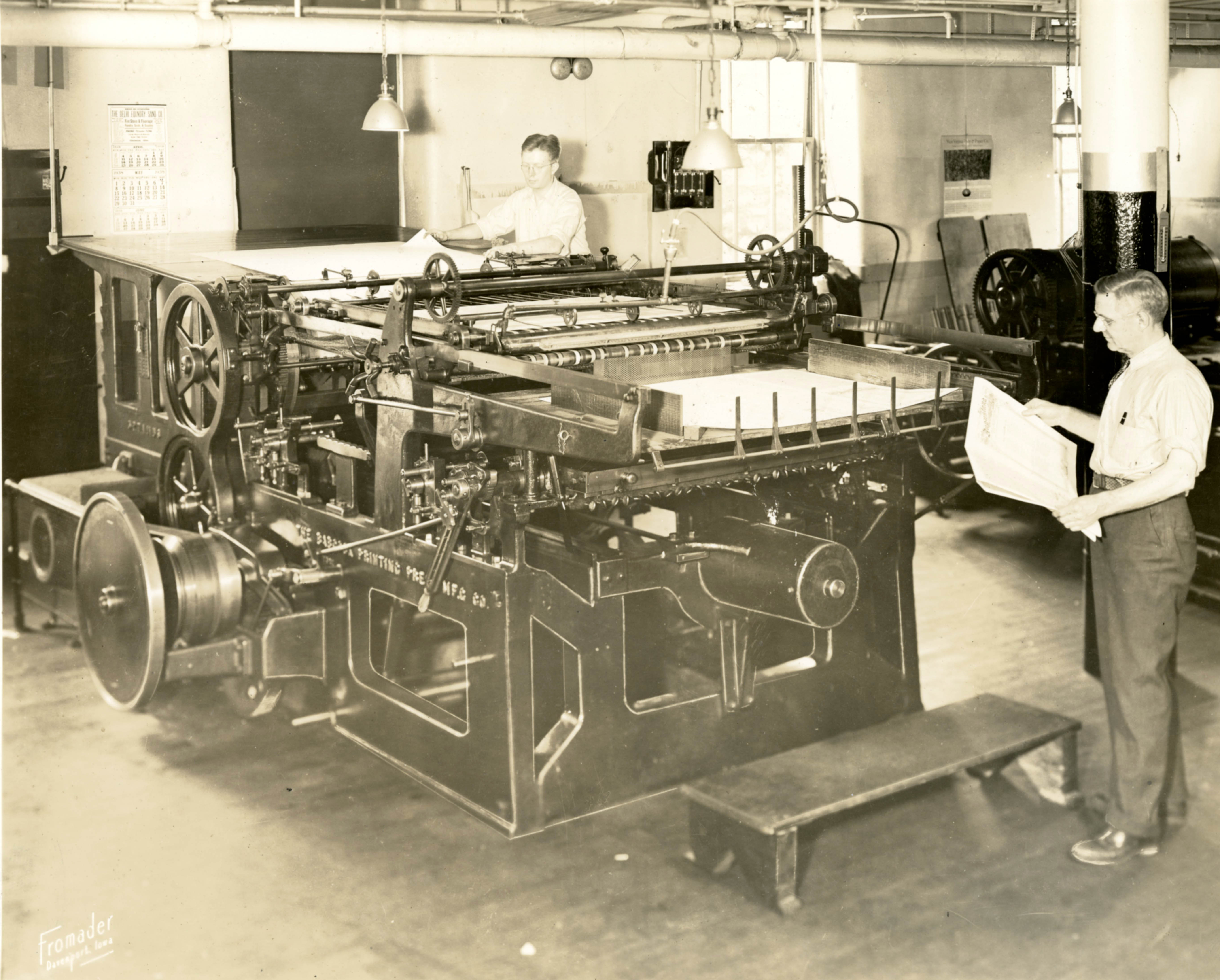 Printing Press at the Augustana Book Concern, late 1920s