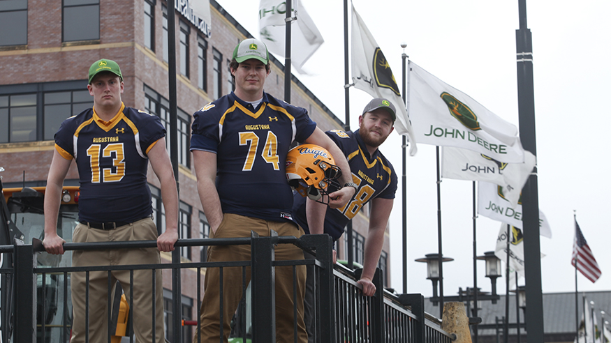 Football player interns at John Deere