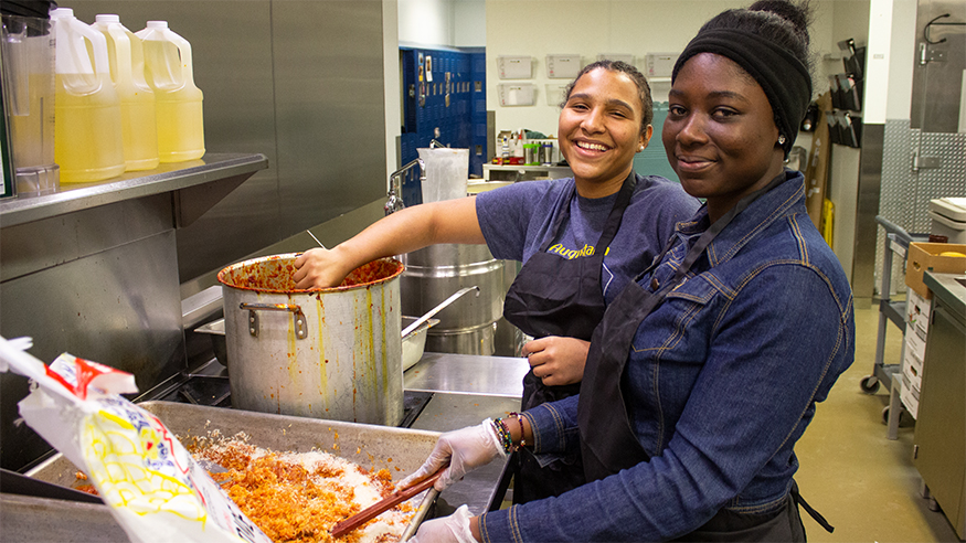 Nadia Ayensah and Caroline Siaw in the kitchen