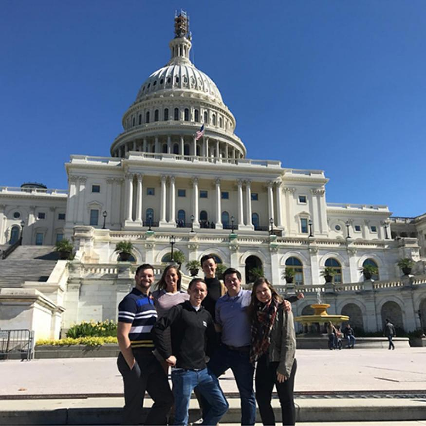 Justin and friends at the capitol building