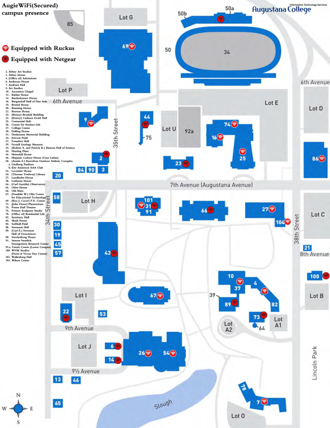 Map of the Wireless Access Points at Augustana. Shows where wireless access points are located and which brands are used.