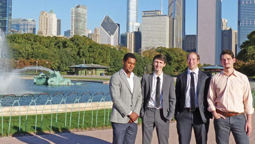 From left, Ken Clay '14, Stuart Casarotto '14, Mark Hoffman '15 and Jesse Nagelberg '15.