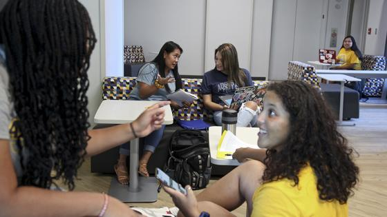 Students study in Hanson Hall of Science
