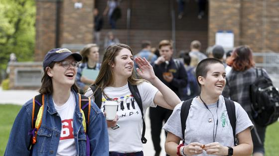 students walk through the quad at Augustana