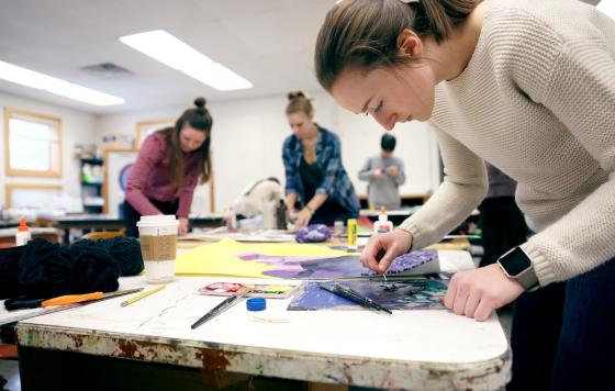 students enjoy art class